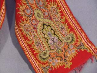 Antique Textiles Early 20th C Paisley Scarf Golden
